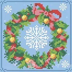 Канва с рисунком для бисера Рождественский веночек Т-0449 #beads #beadwork #embroidery #mimistitch