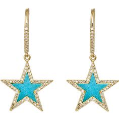 Jennifer Meyer Women's Star Drop Earrings ($7,000) ❤ liked on Polyvore featuring jewelry, earrings, gold, handcrafted jewelry, 18k jewelry, 18k earrings, pave earrings and star drop earrings