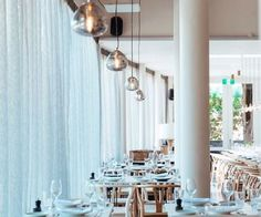 Lighting by Zaffero: Veneto Pendants Commercial Project: Vine Double Bay, Sydney