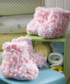 Free crochet pattern for these cotton candy booties.  Find the perfect colored and textured yarn for this project at: http://www.maggiescrochet.com/collections/yarn-thread