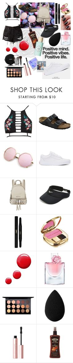 """island getaway"" by alyssasue04 ❤ liked on Polyvore featuring River Island, Birkenstock, MONICA ROSE, Vans, MICHAEL Michael Kors, NIKE, Yves Saint Laurent, Dolce&Gabbana, Topshop and Lancôme"