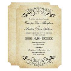 Vintage Black Flourish Wedding Invitation Zazzle Com In 2020 Vintage Wedding Invitations Wedding Invitations Elegant Wedding Invitations