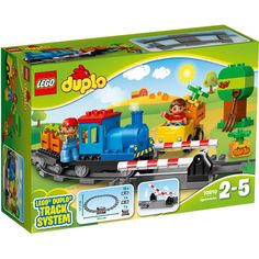 Little engine drivers will love pushing this train around the track, stopping to load up the crates of fresh apples and pumpkins as they go. There's also a level crossing and a car to operate, so you can talk to your child about traffic safety while creating role-play stories together. LEGO DUPLO bricks are specially designed to be fun and safe for little hands. Includes 2 DUPLO figures.