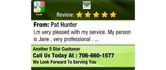 I,m very pleased with my service. My person is Jane , very professional .