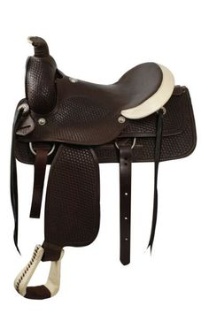 Dark Horse Tack is proud to offer... Circle S Roping Saddle WITH a roping warranty. Saddle features fully tooled basketweave tooling, smooth leather seat, rawhide covered stirrups, rawhide cantle, and