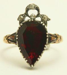 A Wonderful Georgian Pear Shape Garnet & Rose Cut Diamond Ring Circa 1800's