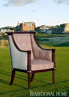 "Furniture in St. Andrews:  Taillardat's ""Bergere Saverne"" doubles up on pattern in ""Tarbert Mineral"" stripes and ""Kintore Heather"" damask.  Photo: Dominic Blackmore 
