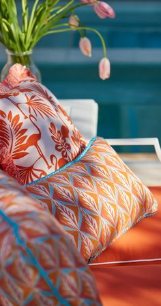 Add a playful touch to your patio with the Sunbrella® Flamingo Isle Sunset Outdoor Pillow.  | Frontgate: Live Beautifully Outdoors