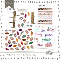 Blessing Tree | Bible Journaling Printable Ephemera by Illustrated Faith Watercolor Hand Lettering, Watercolor Leaves, Watercolor Art, Amy Bruce, Faith Bible, Clear Stickers, Illustrated Faith, Scripture Art, Sticker Paper