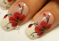 Nail Designs Pictures: Red Flower Nail Designs -- I usually wear only one pattern on a thumb. This is simply perfect for French tip nails. Flower Nail Designs, Red Nail Designs, Fingernail Designs, French Nails, Cute Nails, Pretty Nails, Bride Nails, Wedding Nails, Prom Nails