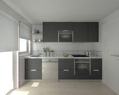 28 pictures of kitchens in white and gray - Trend Kitchen ideas Modular Kitchen Cabinets, Dark Grey Kitchen Cabinets, Kitchen Design Modern Small, Home Decor, Kitchen, Diy Room Divider, Kitchen Pictures, White Kitchen Countertops, Dream Kitchen White