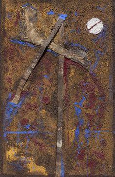 Pigmentos naturales, arenas, hierro y piel sobre tabla. Autor: Frutos María.