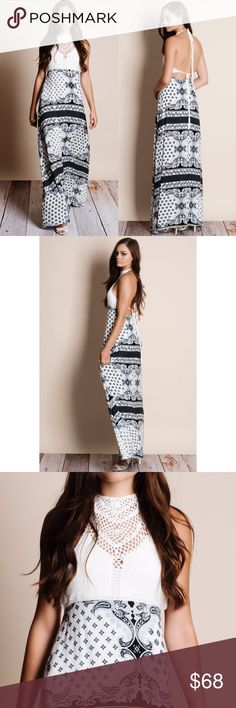 "Lunar Frost Crochet Printed Backless Maxi Dress Crochet top printed skirt maxi dress with a halter neck and waist tie back. Junior sizing. This is an ACTUAL PIC of the item - all photography done personally by me. Model is 5'9"", 32""-24""-36"". NO TRADES DO NOT BOTHER ASKING. PRICE FIRM. Bare Anthology Dresses Maxi"