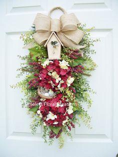 Hydrangea Wreath SwagGarden BerriesFront Door by timelesshomedecor