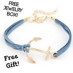 Anchor Braided Boho Blue Leather Rope Bracelet