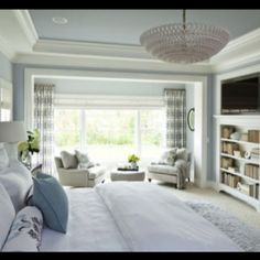 light and airy bedroom (via houzz.com) window is awesome!