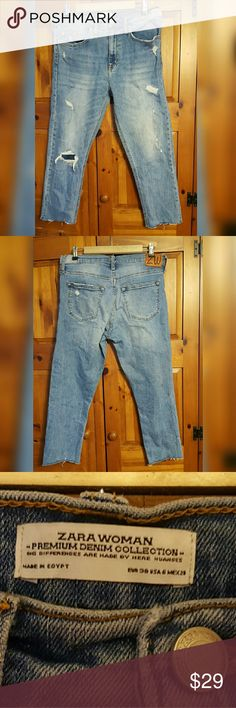 Zara women cut off ankle jean Euc. Tasteful destruction. Zara Jeans Ankle & Cropped