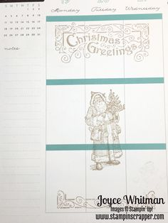 December Happy Planner using Father Christmas stamp set from Stampin' Up!