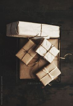 kraft paper & twine wrapping.