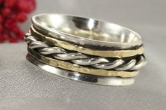 Sterling Silver AND 14k Gold Ring,Yellow Gold Twist Ring Silver&Gold Wide Ring,Silver Spinning Ring,Meditation Ring,Spinner Ring, gift by LIRANSHANI on Etsy