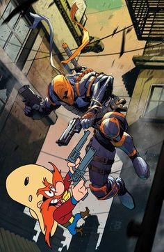 Looney Tunes Variant cover of Deathstroke as well as some of my personal favorites from other titles. Too awesome! Who doesn't love Looney Tunes. Can't believe we have to wait till November for. Dc Deathstroke, Deathstroke The Terminator, Les Looney Tunes, Looney Tunes Cartoons, Arte Dc Comics, Bd Comics, Daffy Duck, Batman Beyond, Character Drawing