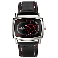 MINI Cooper Go-Faster watch with leather strap and stainless steel case, makes for a great gift.