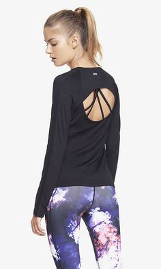 EXP CORE PERFORATED BACK CUT-OUT LONG SLEEVE TEE | Express