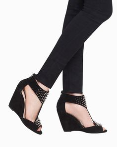 Give your look an extra edge with these spiked suede wedges.