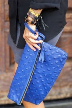 textured blue clutch