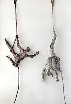 Circus acrobat sculpture wire mesh sculpture home decor by nuntchi