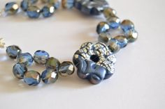 Blue bracelet in polymer clay and crystals OOAK by VeraCreations
