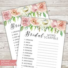 Printable | Bridal Shower Game | Bridal Word Scramble | Instant Download | PDF | Pastel | Spring | Blush | Pink | Florals | Game Card | PDF Picture Thank You Cards, Bachelorette Card, Bridal Games, Printable Bridal Shower Games, Spring Theme, Bridesmaid Cards, Pastel Floral, Rose Gold Foil, Cards For Friends