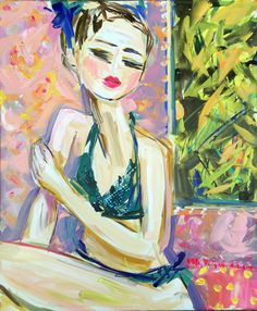 Swimsuit Figure Abstract Portrait Painting by Marendevineart