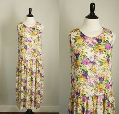 1980s drop waist dress vintage 1920s style rayon by 1932vintage