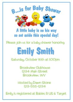Sesame Street Baby Shower Ideas | Sesame Street Baby Shower Invitations    DIY Printable