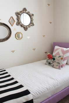 Danielle Oakley's blog shows her daughter's room reveal using the Honeybee wall decals from The Lovely Wall.  www.thelovelywall.com