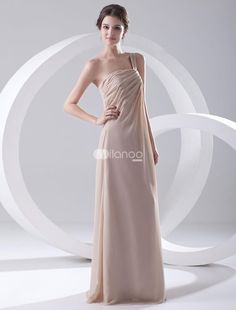 A-line Champagne Chiffon Ruched One-Shoulder Floor-Length Bridesmaid Dress For Wedding. A-line Champagne Chiffon Ruched One-Shoulder Floor-Length Bridesmaid Dress For Wedding. See More Bridesmaid Dresses at http://www.ourgreatshop.com/Bridesmaid-Dresses-C926.aspx