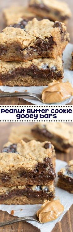 Peanut Butter Cookie Gooey Bars - my favorite easy peanut butter cookie recipe baked as a bar and filled with gooey chocolate! ~ Crazy for Crust Brownie Desserts, Mini Desserts, Easy Desserts, Delicious Desserts, Yummy Food, Plated Desserts, Easy Peanut Butter Cookies, Peanut Butter Desserts, Peanut Butter Cookie Recipe