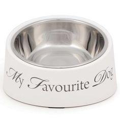 """My Fav Dog"" Skrå-kant Hvit Hundeskål Dog Bowls, Dogs, Pet Dogs, Doggies"