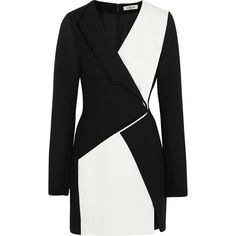 Mugler Two-tone crepe mini dress ($1,535) ❤ liked on Polyvore featuring dresses, black and white mini dress, panel dress, mini dress, graphic print dress and structured dress