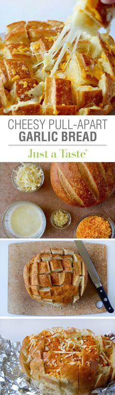 Cheesy Pull-Apart Garlic Bread #recipe from justataste.com