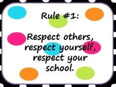 5 polka dot themed classroom rules posters