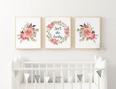 Isn't She lovely Print, Floral Prints, Nursery Wall Art Girl, Nursery Prints, Nursery Decor, Nursery Wall Art Flowers, Set of 3, Pink, Girl. From ADORN MY WALL