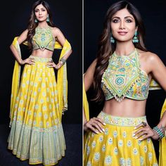 Yellow Lehenga Choli Designs for Haldi Ceremony in Bollywood Style - Fashion Choli Designs, Lehenga Designs, Saree Blouse Designs, Indian Wedding Outfits, Indian Outfits, Indian Clothes, Indian Designer Outfits, Designer Dresses, Lehnga Dress