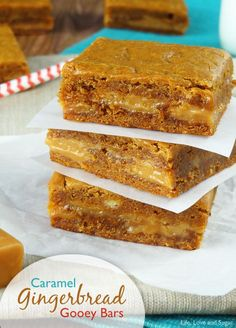 Caramel Gingerbread Gooey Bars   15.25 oz yellow box mix 1 egg 3/4 cup molasses 1 stick butter (1/2 cup), softened 1/4 cup ...