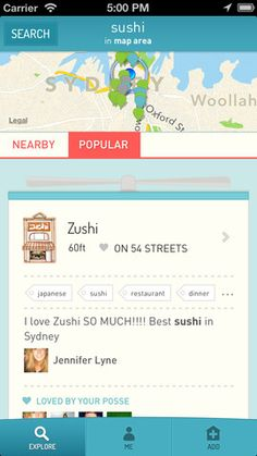 Posse (Shows you the favorite places of people whose tastes you trust) FREE