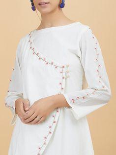 Off White Pink Embroidered Cotton Kurta