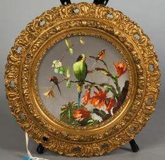 French Painted Porcelain Convex Plaque : 15 D