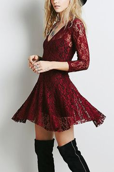 Burgundy Lace Skate Dress