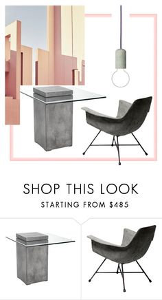 """Concrete"" by julie-rawding ❤ liked on Polyvore featuring interior, interiors, interior design, home, home decor, interior decorating, Ricardo, Sunpan and Lyon Béton"